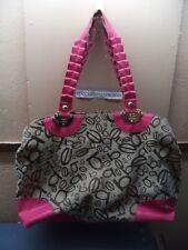 "bebe Logo Large 17"" x  12"" x 5.5"" Handbag Beige Poly/Cotton + Pink PVC Trim VGC"