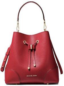 🌹MICHAEL KORS Mercer Gallery Medium Pebbled Leather Shoulder Bag- Red. NWT