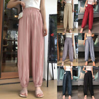 Womens Pleated Harem Pants High Waist Baggy Tapered Leg Ladies Casual Trousers