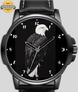 Eagle Black Close-up Portrait  Unique Wrist Watch FAST UK