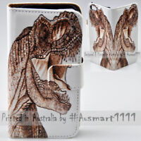 For Samsung Galaxy S6 S7 edge+ S5 - T-Rex Dinosaur Print Wallet Phone Case Cover