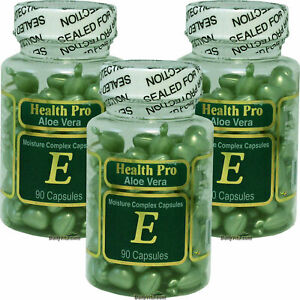 3 x Aloe Vera Vitamin-E Moisture Skin Oil 90 Green Capsule Gel, Made In USA