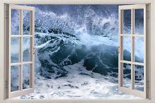 Huge Window Wall sticker Sea Ocean Wave Vinyl Decor 3d Mural Art Home Removable