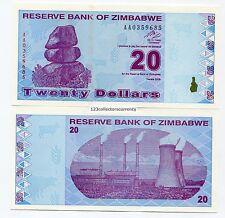 Zimbabwe $20 New Dollar 2009 Equivalent-Previous 2000 Trillion X 10 Note Lot P95