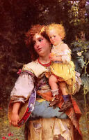 Oil painting Cesare-Auguste Detti - gypsy woman and child in forest landscape