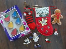 JOB LOT OF VINTAGE STYLE CHRISTMAS TREE BAUBLES AND ORNAMENTS