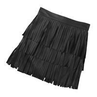 Women's PU Leather Sexy Mini Skirt Fringe Tassel Bodycon Pencil Dress Clubwear