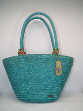 Cappelli Teal Straw Tote w/Multi-Color Beads on Straps Sz Large - Beachy  NWT
