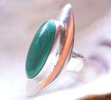 Extrem Lang Massiv Malachit Silberring 53 Silber Ring Handarbeit Grün Schlicht