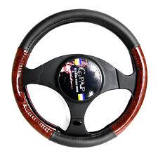 "16"" L Leather PU Car Sedan Steering Wheel Cover Set Black Wood Grain Protection"