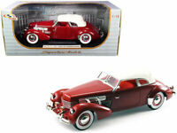 1937 CORD 812 SUPERCHARGED BURGUNDY 1/18 DIECAST MODEL BY SIGNATURE MODELS 18112