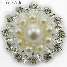 NEW SILVER FLOWER PEARL BROOCH DIAMANTE CRYSTAL WEDDING PIN PARTY BROACH GIFT UK