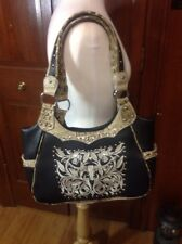 Embroidery Black Western flower Handbag with match Wallet