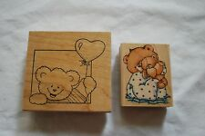 Lot of two wooden rubber stamps bears balloon teddy bear heart  scrapbooking