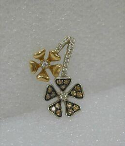 FINE ESTATE 10K WHITE & ROSE GOLD CHOCOLATE & WHITE DIAMOND DBL FLOWER PENDANT