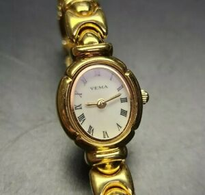 Yema 30 Womens Ladies Bracelet Watch Gold plated New Battery Stainless Back
