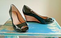 Women's Shoe Cork Wedge with Patent Leather Open Toe Shoe 8.5 Black Slip On
