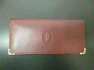 Auth Excellent Cartier Must Line Bifold Long Wallet Bordeaux Leather 86429 B