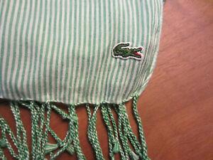 Lacoste Schal Sommer grün weiß gestreift Fransen Baumwolle Tuch Freizeit *