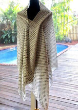 Loro Piana Wht Double-Pleat Cashmere/Silk+Blk Polka Dot Summer Shawl Scarf Wrap