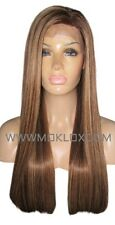 Human Hair Wig Front Lace 24 Long Straight Brown Blonde 4 27 Highlights Silk Top
