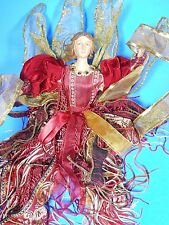 """Angel Fairy large Ornament Figurine 17"""" tall red Dress golden Star Wing Tree Top"""