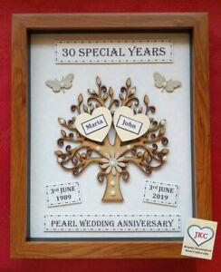 Personalised Handmade PEARL 30th WEDDING ANNIVERSARY GIFT Tree Frame Keepsake