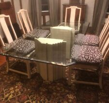 RECTANGLE GLASS TOP /TRAVERTINE BASE DINING ROOM TABLE 5 CHAIRS