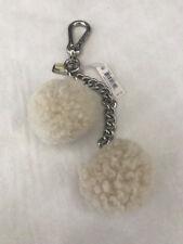 COACH Shearling Pom Pom Keychain, Ivory/Silver, $65.00-NWT