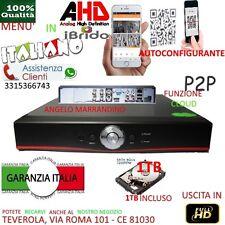 DVR 4 Canali AHD CON HARD DISK 1000GB P2P CLOUD WEB SERVER PTZ HDMI APP IBRIDO
