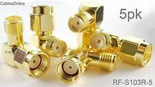 5-PACK RP-SMA Male to SMA Female Right Angle 90-Degree Gold Plated Adapter
