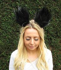Black Feather Cat Animal Ears Headband Hair Band Headpiece Festival Goth 2026