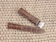 Genuine Leather Padded Alligator Grain Watch Strap 20mm Brown / by Geckota