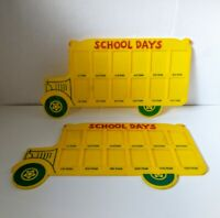2 VTG Yellow School Days Bus Picture Frame 12 Year Grade Slots JSNY Plastic