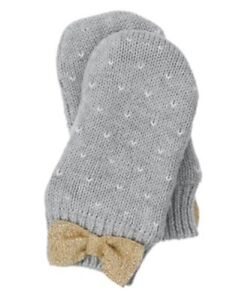 GYMBOREE FAIR ISLE FLURRY GRAY DOT N BOW LINED SWEATER MITTENS 12 24 2 3 4 5 NWT