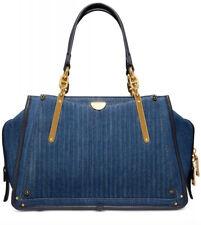 New Coach Denim Quilted Dreamer blue bag cotton zip Closure Gold 53621 satchel