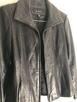 Jones New York 100% Leather Jacket Size Small Zip-Up