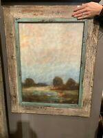 """PAIR FARMHOUSE 31"""" OIL REPRODUCTIONS SALVAGED WOOD FRAMES WALL ART PICTURES"""