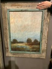 "PAIR FARMHOUSE 31"" OIL REPRODUCTIONS SALVAGED WOOD FRAMES WALL ART PICTURES"