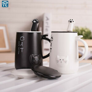 Cute Cat 400Ml Cafe Coffee Mug Ceramic Drinking Cups Large Capacity with Spoon