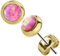 Bezel set Pink Opal Round Stud Earrings in Yellow Gold over Sterling Silver