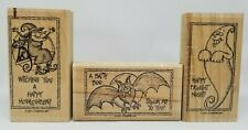 Stampin Up Tricky Treats Halloween wood rubber stamp set of 3 bat witch ghost