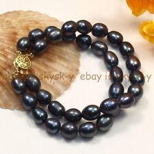 "2Rows 10-12mm Natural tahitian black pearl bracelet 7.5"" AA"