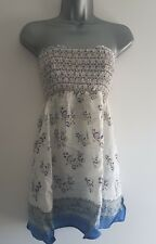 E-VIE Size 14 Top Bandeau Tunic Cream/Blue/Pink Sequins Summer Holiday Ladies