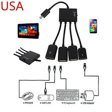 Micro USB Host OTG 3 Port Hub Adapter Cable with Power for Samsung Note 3 4 S5