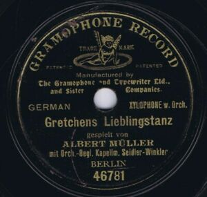 """78 rpm ALBERT MÜLLER German Shellac 7"""" One-Sided Gramophone Record 46781"""