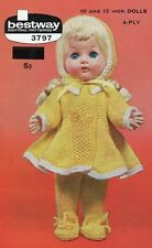 Vintage  Dolls Clothes Copy Knitting Pattern 25  - 30 cm dolls 4 ply