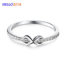 Silver Color Lovely Infinity  Cubic Zirconia Rings For Women Engagement Jewelry