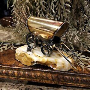 MARIO JASON Mixed Metals Covered Chuck Wagon Campfire Sculpture on Onyx