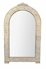 Moroccan Hand Carved White Camel Bone Mirror